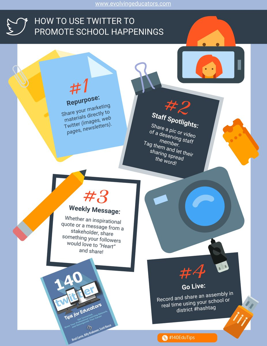 How can you use @Twitter to promote school happenings? Check out the image below. #140EduTips