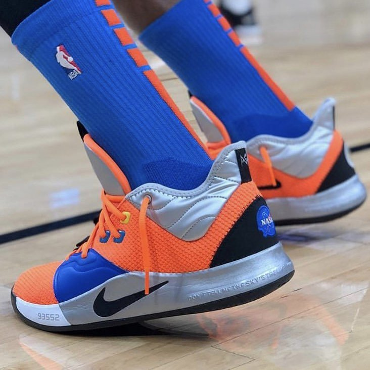 0007ece2b6ed Paul george debuts the new pg3  nasa  against the spurs. . 📸   sneakers on court