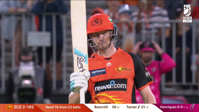 50 up for Cam Bancroft. 📺 Watch LIVE on #FoxCricket & 📰 join our match centre: #BBL08 Photo