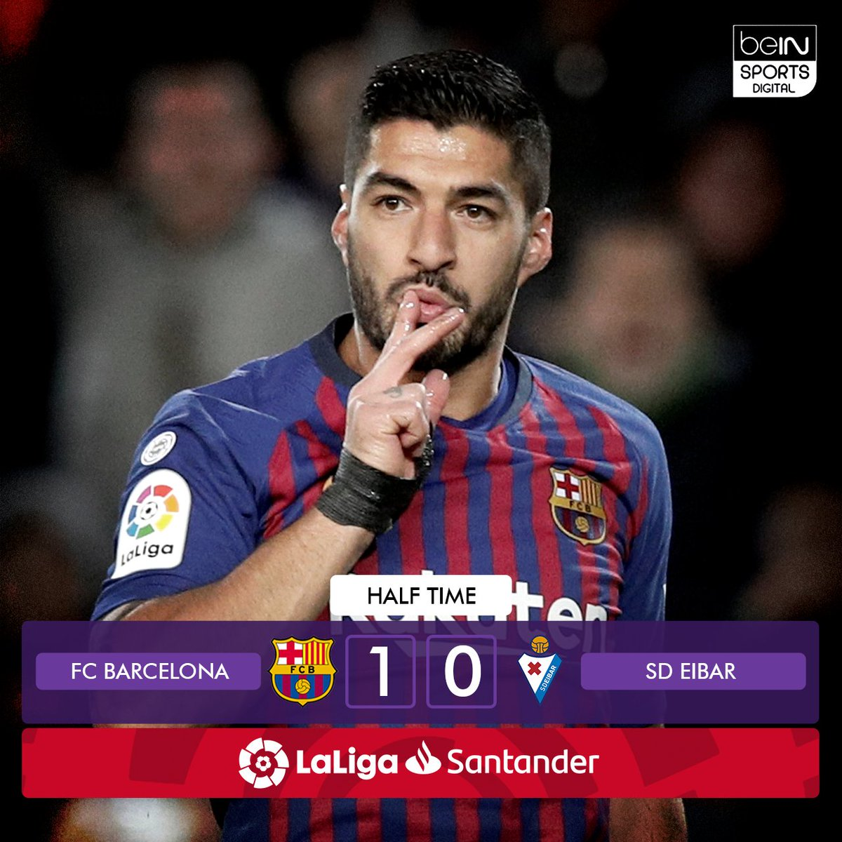 💪 @LuisSuarez9 gives @FCBarcelona the upper hand at the half! 👌  #BarcaEibar