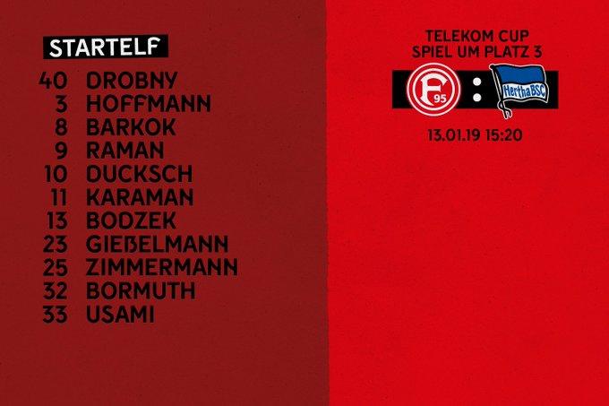 Mit dieser Startelf starten wir gleich ins Spiel um Platz 3 gegen @HerthaBSC. #TelekomCup #f95 Foto