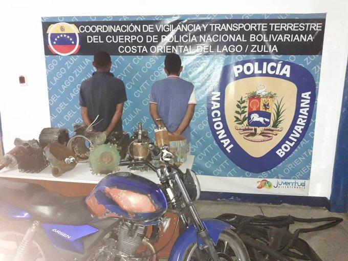 #13Ene   Detenidos por funcionarios de @TransitoContigo 2 ciudadanos por hurto de material estratégico de la actividad petrolera, en la parroquia Alonzo de Ojeda, edo. Zulia. Photo