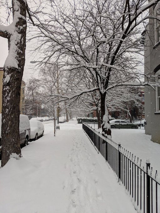 Pretty, snowy walk to #TRBAM this morning. Based on slush levels already, sidewalks and streets are going to be awful tonight when they freeze. Be careful out there! Photo