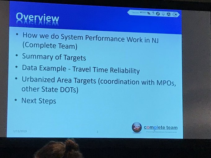 New Jersey DOT about to share insights on developing urbanized area targets @ National Performance Measures Workshop . 145B. #trbam @TDMcommittee Photo
