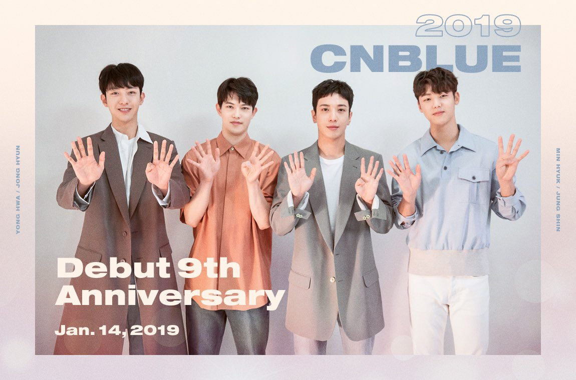 [Anniversary] #CNBLUE데뷔9주년 #CNBLUE_9th_Anniversary #BOICE 2019년 1월 14일 #CNBLUE 의 데뷔 9주년을 축하해주세요♡ @CNBLUE_4