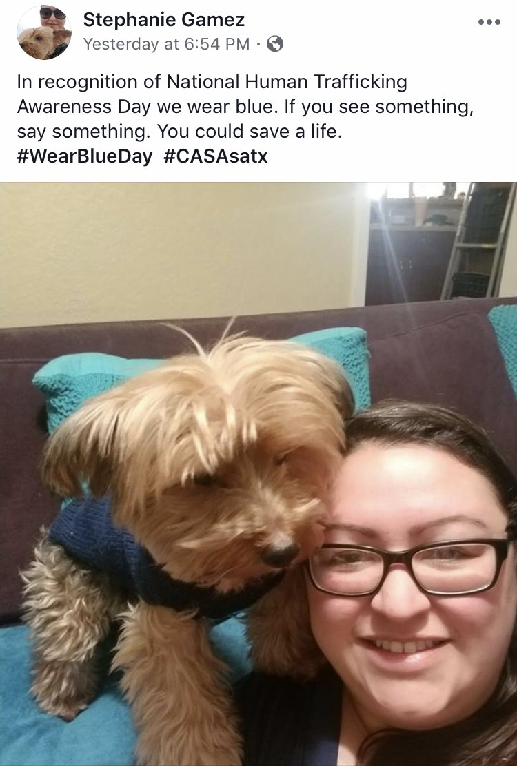 Thank you to everyone who participated in our #WearBlueDay challenge yesterday! Our winner was Stephanie Gamez and her super cute pup. Human trafficking is a huge issue facing many foster children but together, we can bring an end to it. If you see something, say something.
