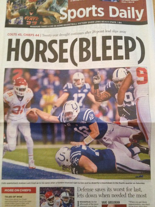 Love the difference in headlines in the @KCStar compared to 5 years ago. Go @Chiefs! #ChiefsKingdom  #LetsRoll Photo