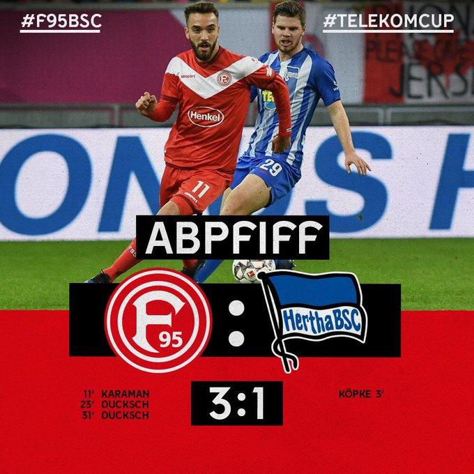 3-1でタイムアップ! フォルトゥナが3位決定戦で @HerthaBSC を破りました💪 #TelekomCup #f95_jp Foto