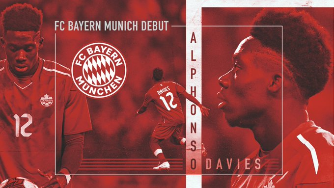 Congratulations to Alphonso Davies (@AlphonsoDavies) who debuts for @FCBayernEN in #TelekomCup action. Foto