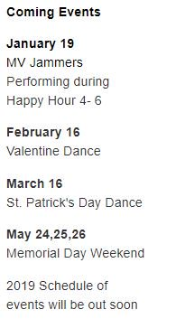 Coming Events: January 19 MV Jammers Performing during Happy Hour 4- 6 . February 16 Valentine Dance . March 16 St. Patrick's Day Dance . May 24,25,26 Memorial Day Weekend . 2019 Schedule of events will be out soon #MiraVistaResort #NudeRecreation https://t.co/9uGhJqPrkf
