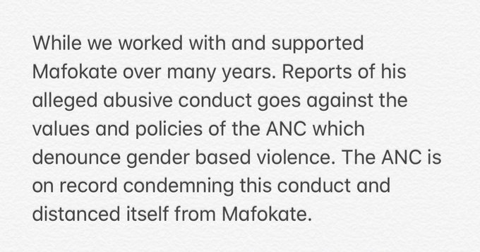 We condemn the conduct of Arthur Mafokate at our Manifesto Launch rally when he stormed the stage uninvited and caused undue mayhem. We apologise to @NomzamoMbatha for any offense this despicable conduct may have caused in the execution of her duties as a programme director. Photo