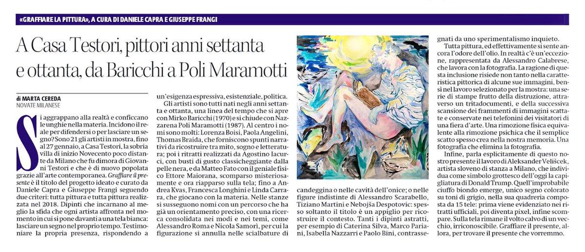 Grazie a #MartaCereda per il pezzo su @ilmanifesto sulla mostra #GraffiareIlPresente che ho curato con @robedachiodi a @CasaTestori con 21 dei più bravi pittori italiani #ArteContemporanea #PitturaItaliana