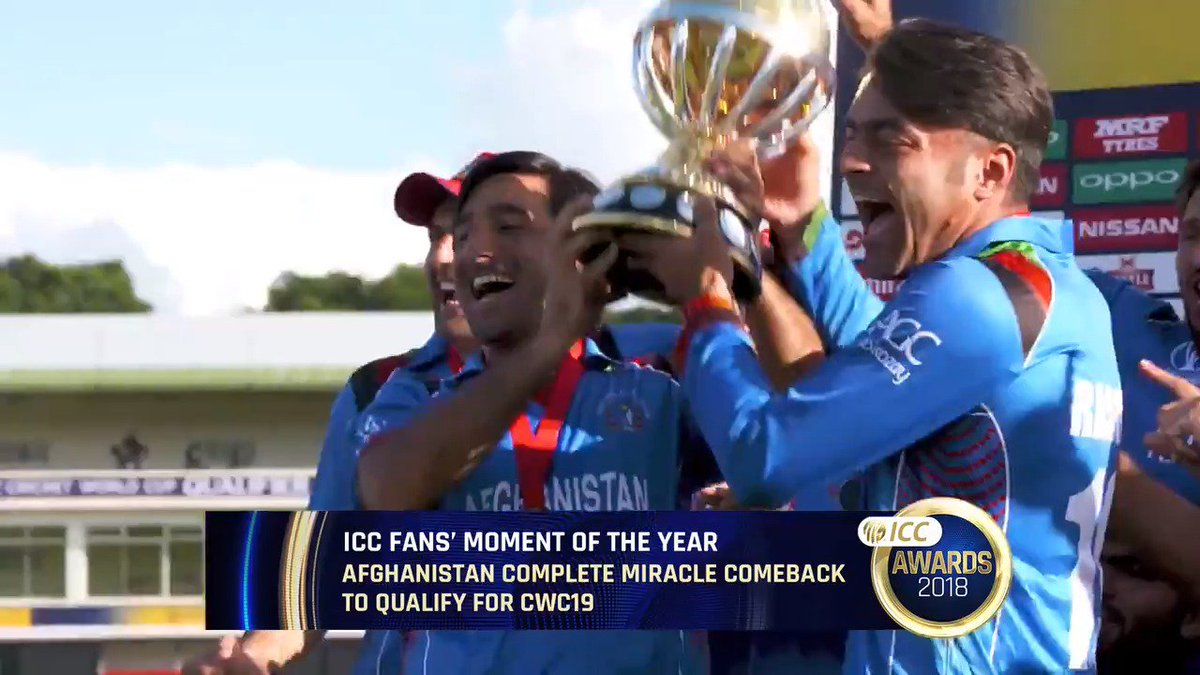 12 March - saved from elimination by Nepal beating Hong Kong. 25 March - #CWCQ champions! 🏆  @ACBOfficials' comeback from the brink in Zimbabwe to reach #CWC19 is nominated for the ICC Fans' Moment of the Year in the 2018 #ICCAwards!  VOTE NOW ➡️ http://bit.ly/FansMoment2018