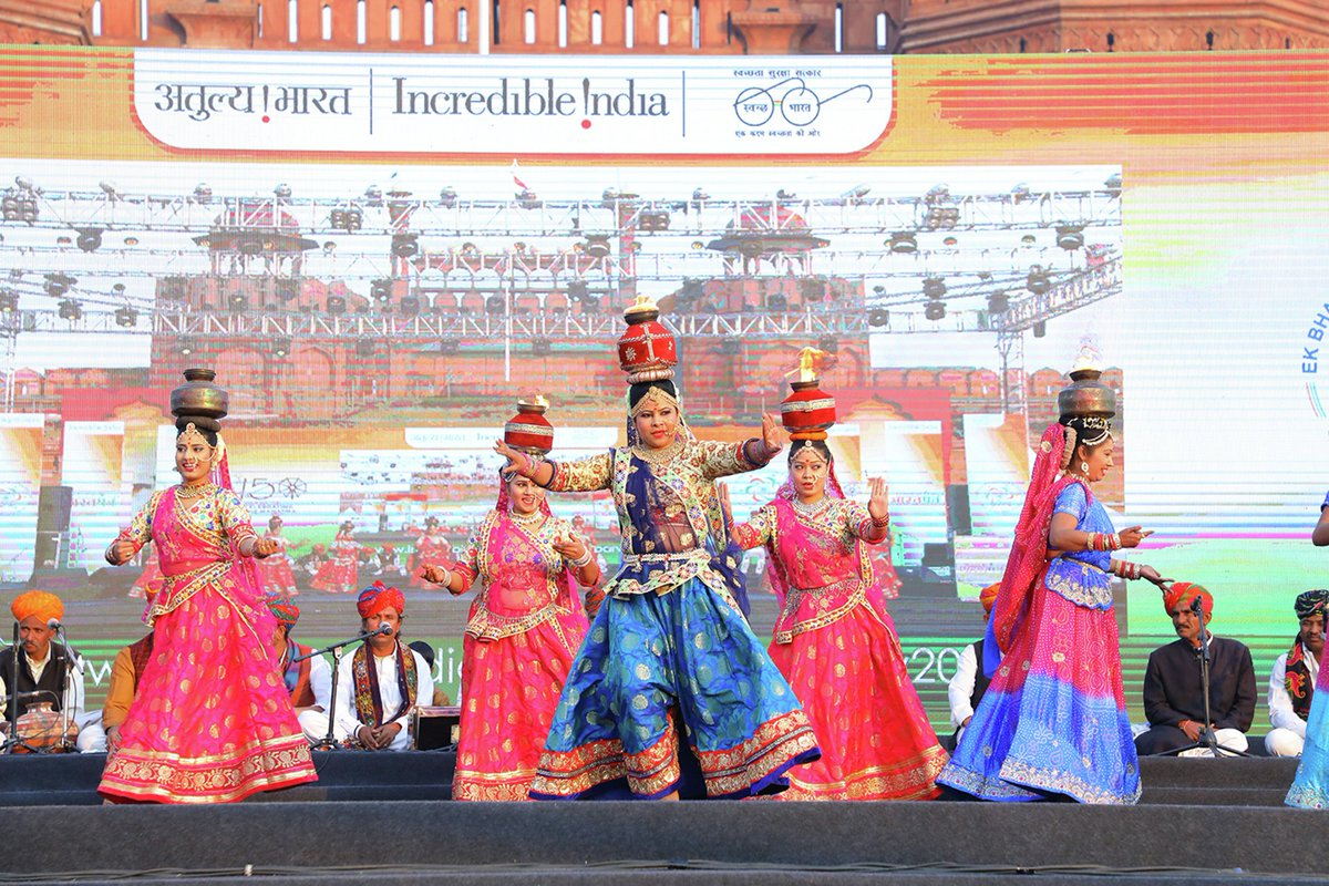 Glimpses of cultural programmes hosted by various states  #BharatParv #RepublicDay2019 #IncredibleIndia