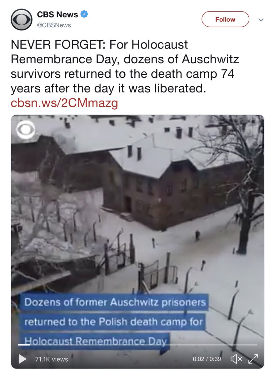".@CBSNews On January 27, 2019 over 50 former Auschwitz prisoners & Holocaust survivors arrived at the Auschwitz Memorial. However, Auschwitz was not ""The Polish death camp"". It was a German Nazi concentration and extermination camp built in occupied Poland. Please correct."