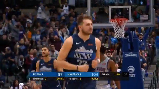 Luka Doncic records 32 PTS, 8 REBS, & 8 ASTS. Only two other players in @NBA history have had that many PTS, REBS, & ASTS in a game as a teenager: LeBron James & Kevin Durant. (@EliasSports)  #NBARooks