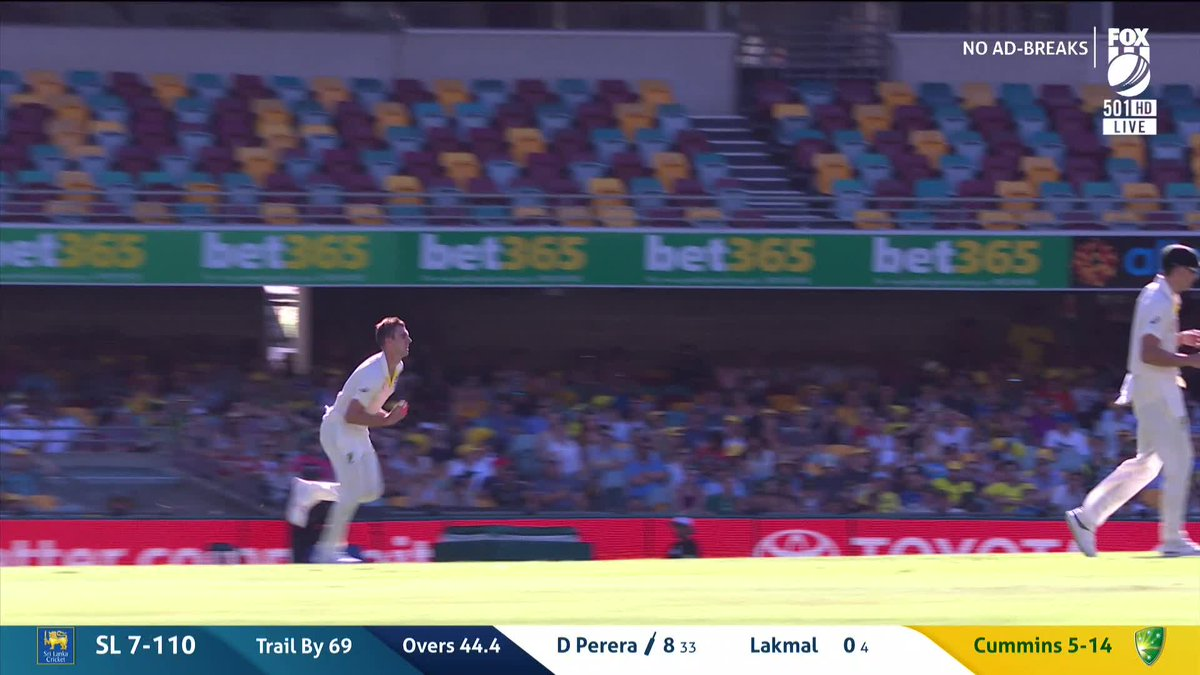 WICKET: Perera goes for 8.   📺 Watch LIVE on Fox Cricket & 📰 join our match centre: http://bit.ly/2WcJZJg                   #AUSvSL