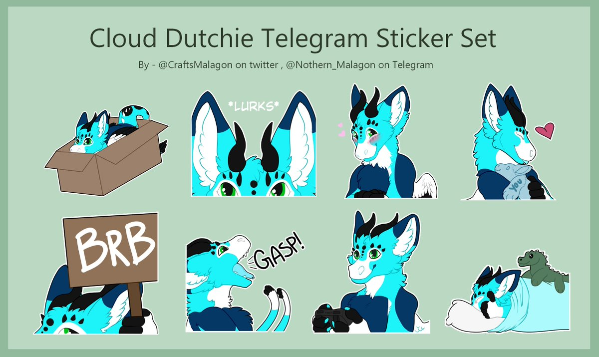 Some finished telegram stickers of a very cute dutchie