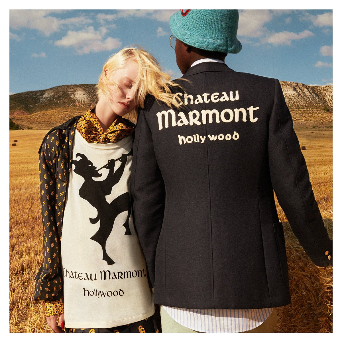 1ac515b8 A wool jacket embroidered with patches featuring Chateau Marmont's  lettering, and an oversize T-shirt printed with Pan, the mascot of the  famous hotel.