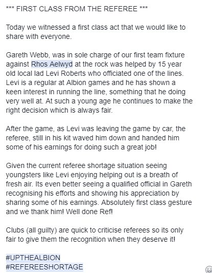 Cefn Albion Fc On Twitter 2day We Witnessed A First Class Act That We Would Like 2 Share With Everyone Fawales Referee Gareth Webb Who Took Sole Charge Of Today S 1st