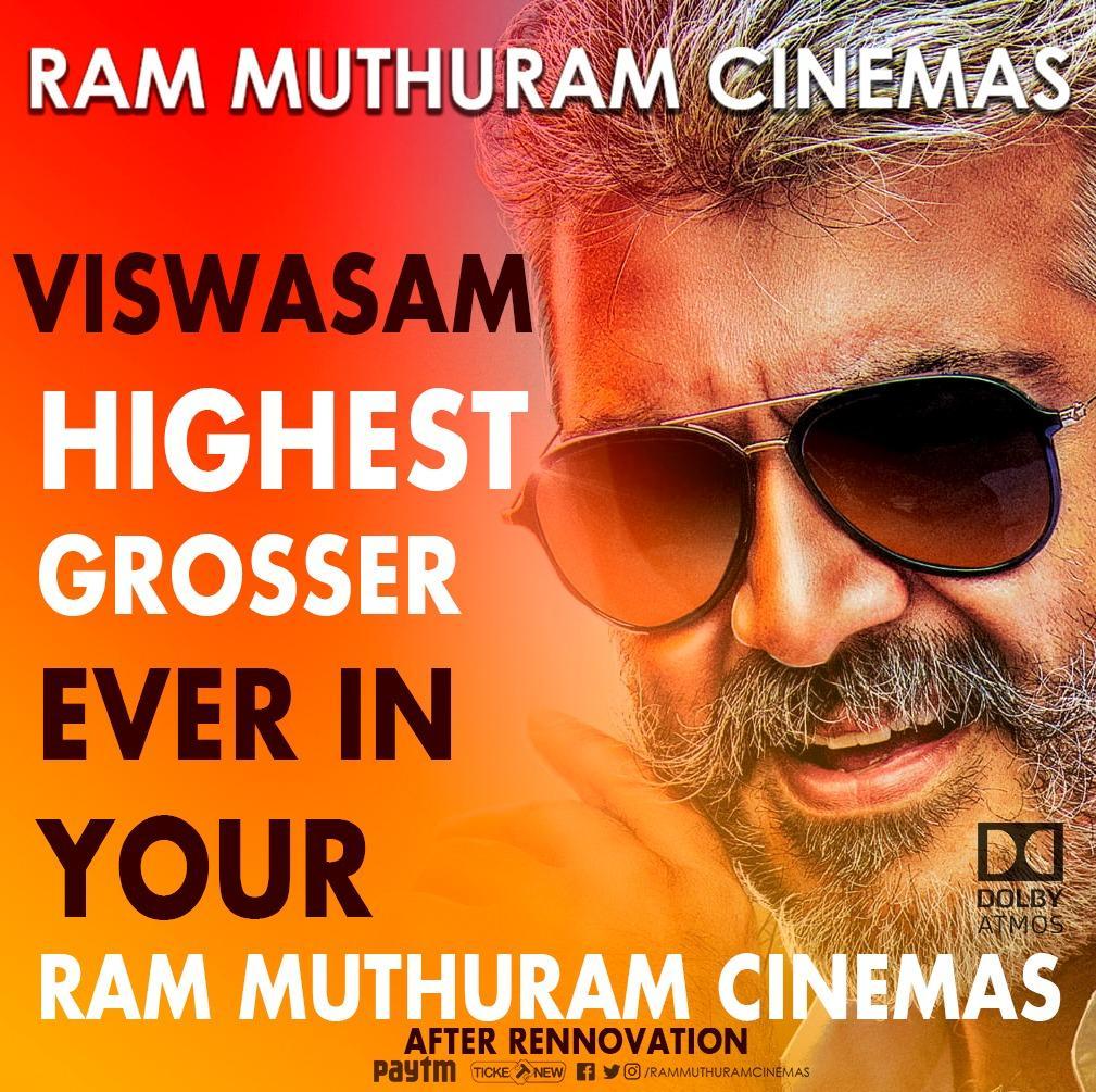Finally #Thala Ajith #Viswasam has beaten all our previous box office records after our Renovation !! A perfect Family oriented movie on a peak Holiday + Thala Fans support we made it ❤️