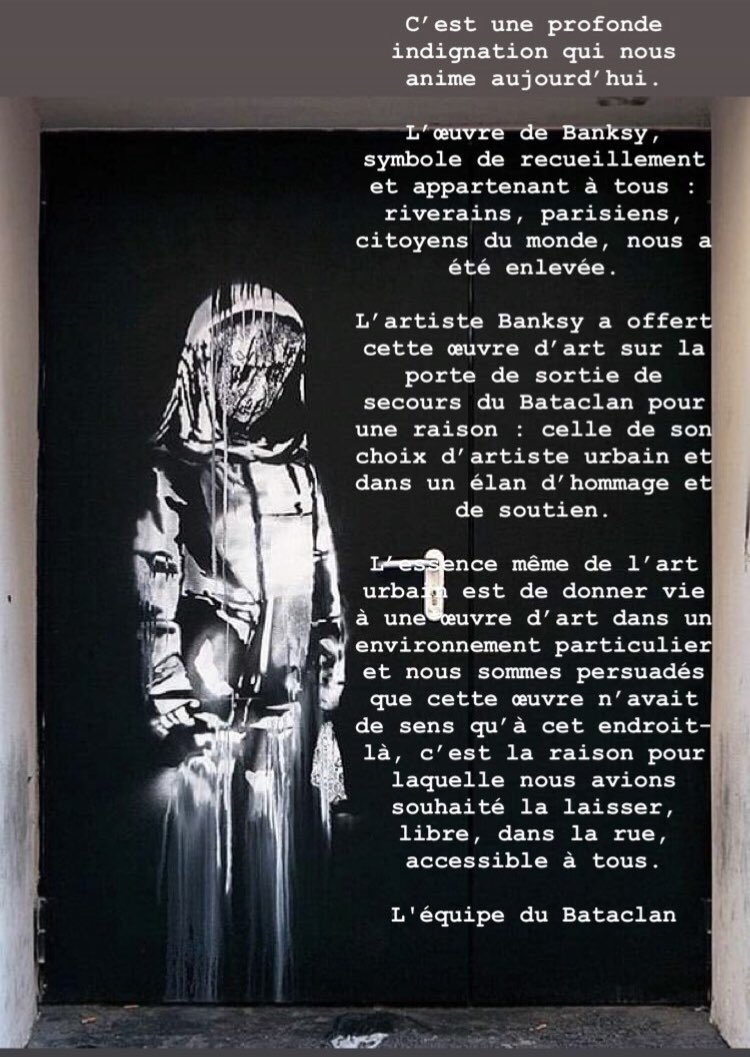Thieves drive off with Banksy mural on Bataclan fire door