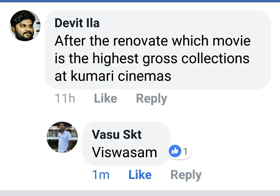 Its a Gala for Theatre Owners this WeekEnd With #Viswasam's Continuous HOUSE FULL Shows. Every one started Confirming it as the All Time RECORD!  Vasu - Owner of Kumari Theatre, Uthukottai has Confirmed that #Viswasam is their Highest Grossing Movie.  #VISWASAMGathersFamilies