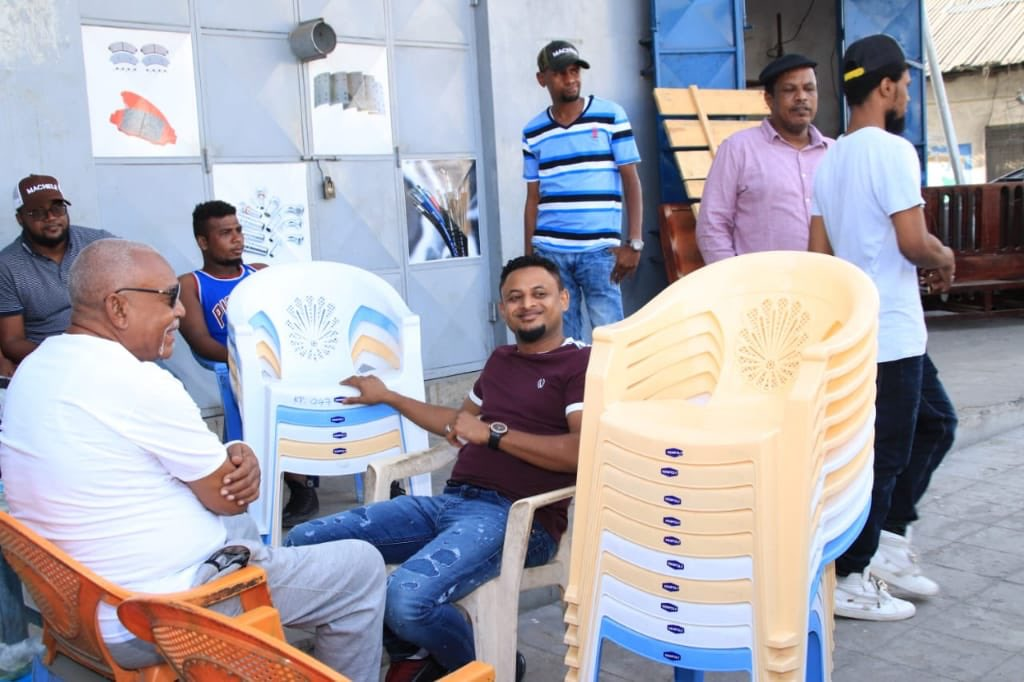 Our Patron donated chairs to Shikamoo base (formerly Shariff Nassir hangout) following a request from them . We also later visited Majengo visit where we met youth groups running car wash project and pledged to provide them with a car wash machine as theirs broke down recently