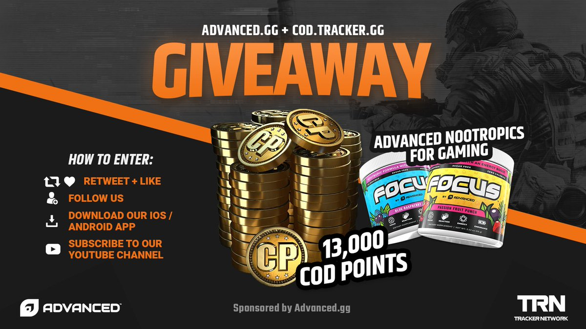 💰 🔥 MASSIVE GIVEAWAY 🔥💰   🎁 13,000 #COD POINTS & 1 Tub of FOCUS (60 Servings) 👋 Tag Your Friends 💞 Retweet, Like & Follow @CODTracker & @Advanced_GG 🖱️ Click Here To Enter: http://bit.ly/2RV1uzD
