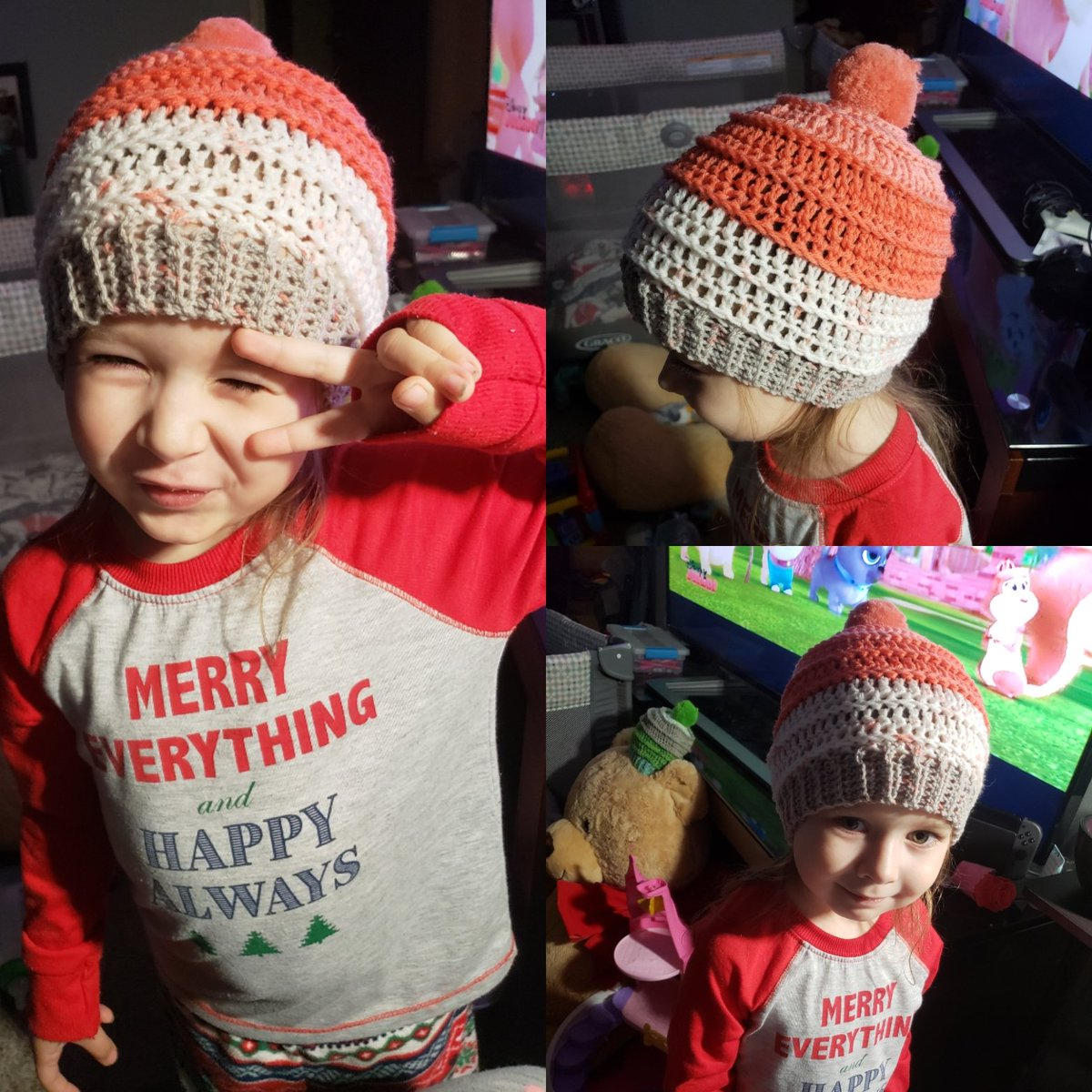 Hat and pompom makes for a happy 4yr old  cortrightcreations  crochet   caroncupcakes pattern 7dcc5377a4f