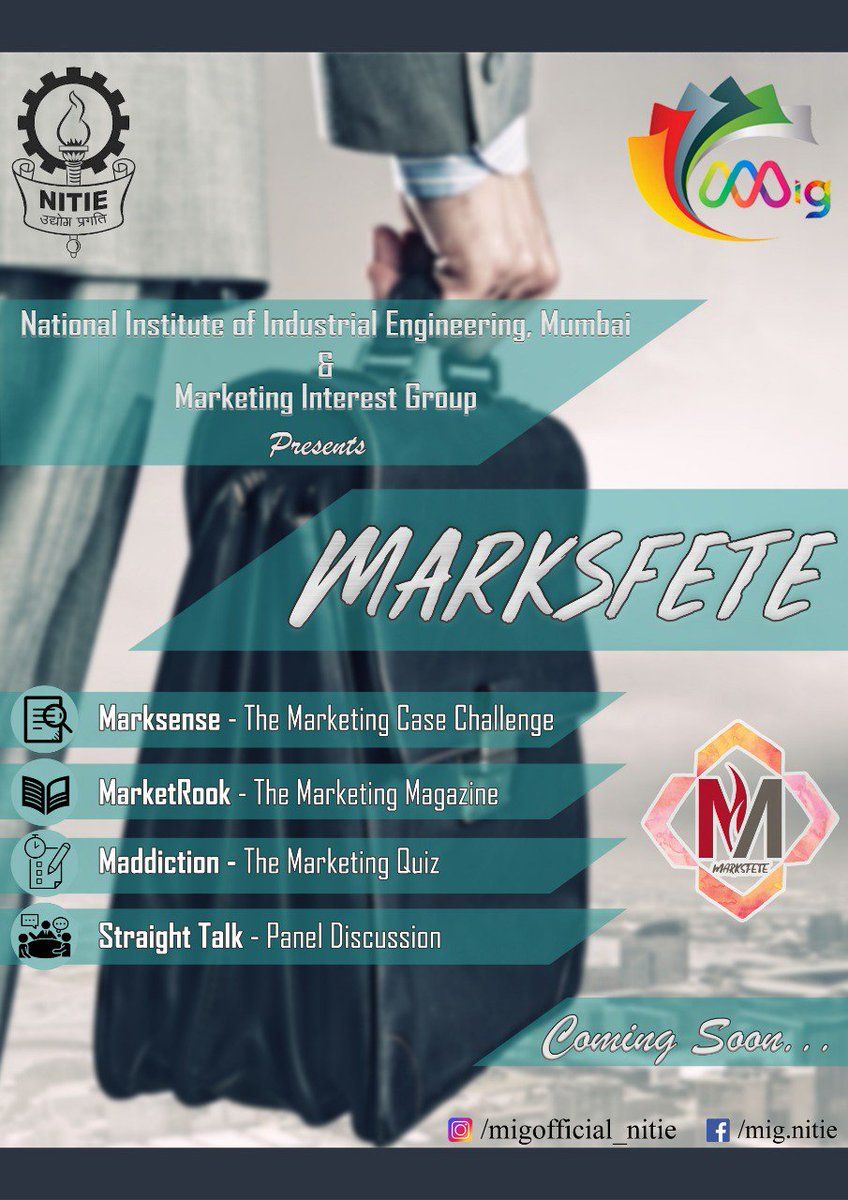 MARKSFETE'19- Annual Marketing Fest of NITIE Coming soon.... #MARKSFETE #MIG #NITIE https://t.co/h6eOaxzI7V