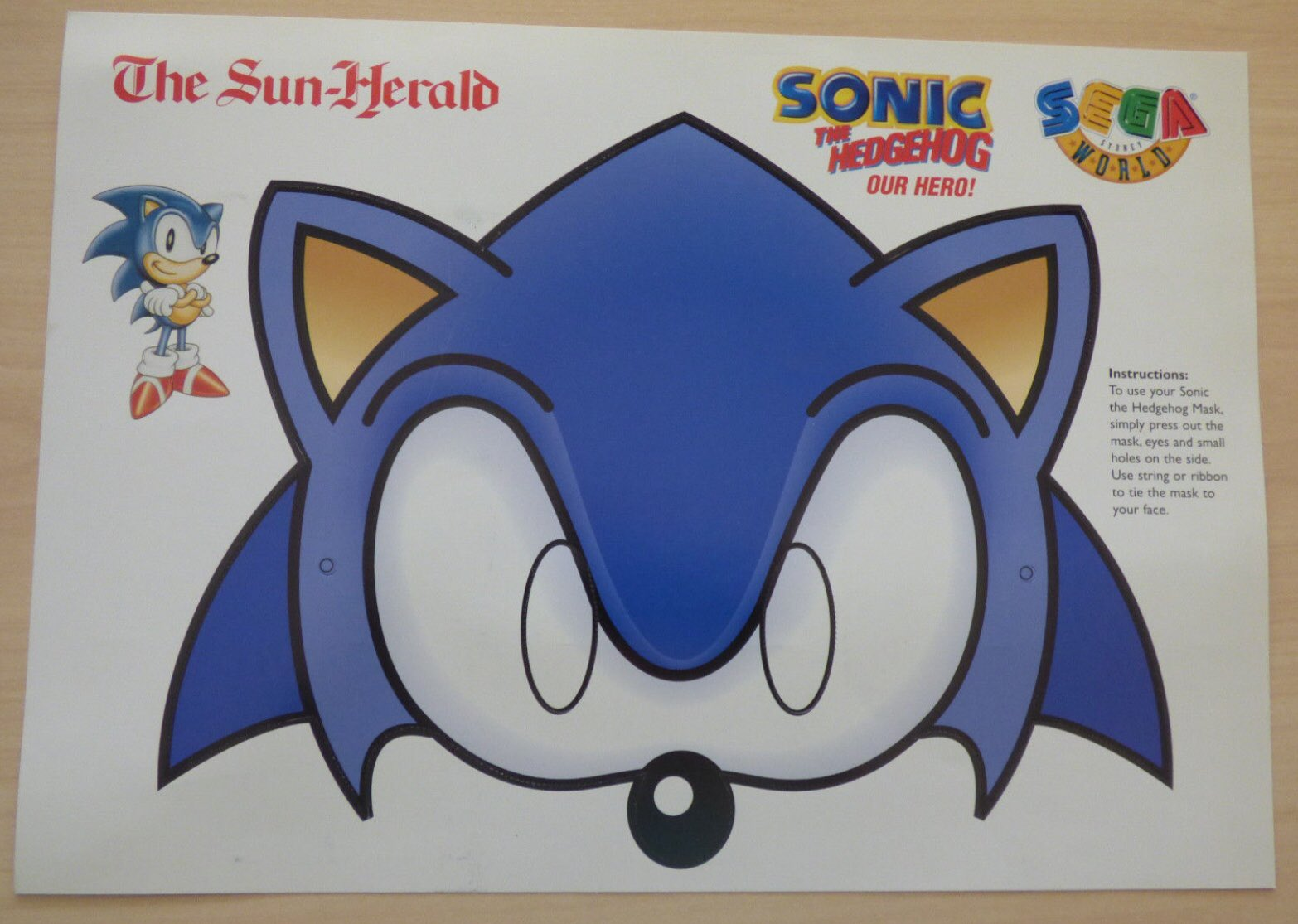 Sega World Sydney Memoriam On Twitter Here S A Paper Sonic Mask That Was Included With The Sun Herald As An Advertisement For Sega World Sydney