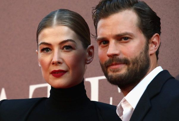 Wishing a very Happy 40th Birthday to actress Rosamund Pike shown here with Jamie Dornan (A Private War)