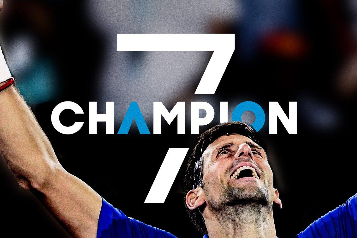Magnificent Seven!  @DjokerNole is the #AusOpen 2019 men's singles champion def. Rafael Nadal 6-3 6-2 6-3.  #AOChampion #AusOpenFinalFinal