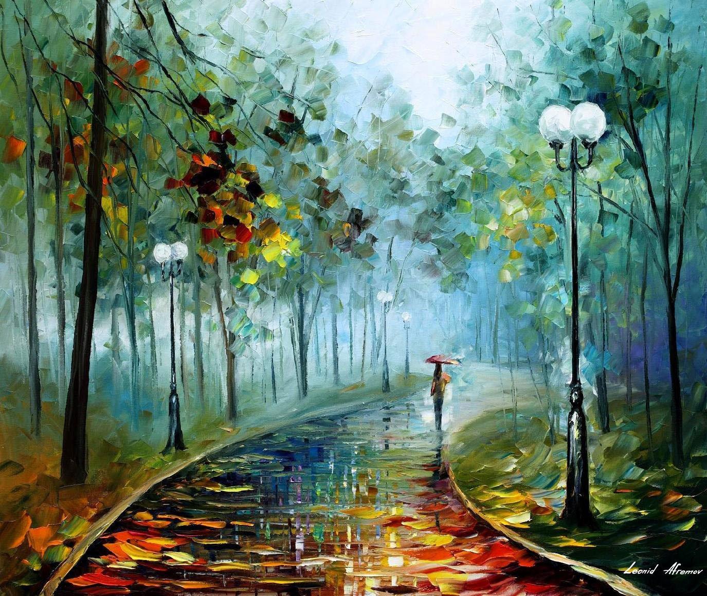 Открыток, картинки рисованные осень дождь