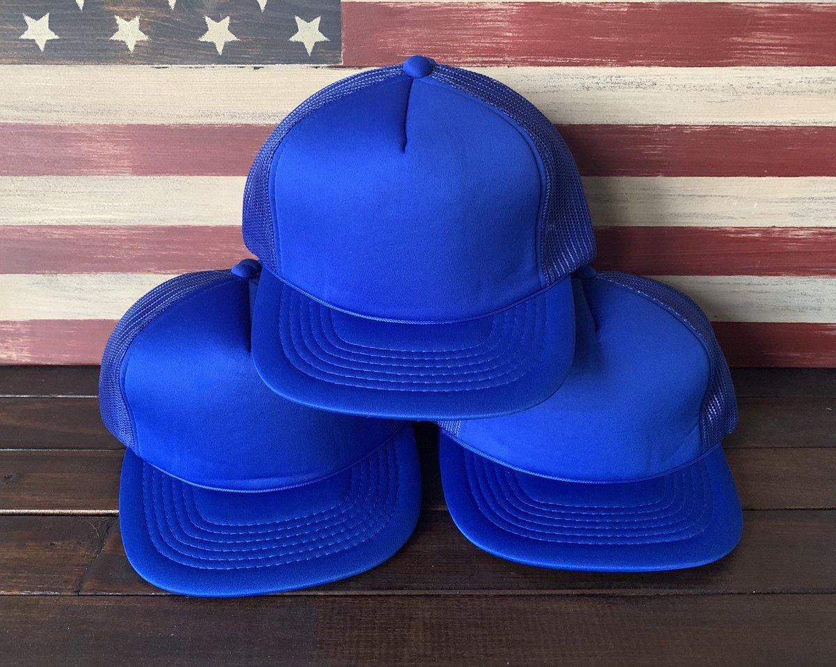 fc6fedad810 BLANK TRUCKER HATS Vintage Blue Wide Brim Snapback Trucker Hat Lot of 12  https
