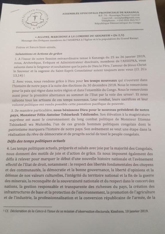 #RDC #Elections : l'archevêque de Kananga et les évêques des provinces du Kasai central et du Kasai, fiefs UDPS, se démarquent de la position de la conférence épiscopale et reconnaissent l'élection du président @fatshi13 comme «une première alternance pacifique et démocratique»