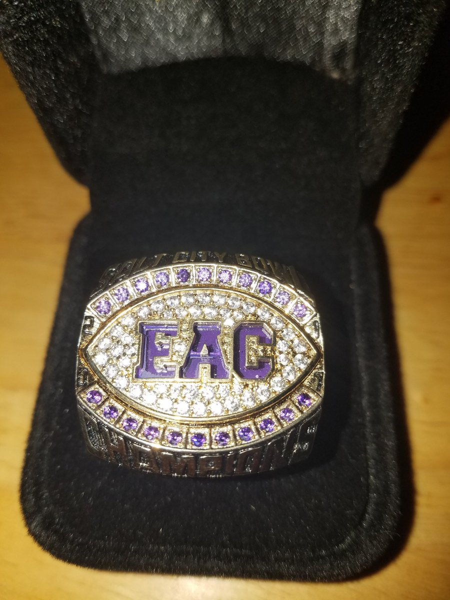 Last night former EAC football coach John OMera presented me with this ring. It represents the teams back to back Salt City Bowl wins. Has to be one of the coolest gifts Ive received as a broadcaster.