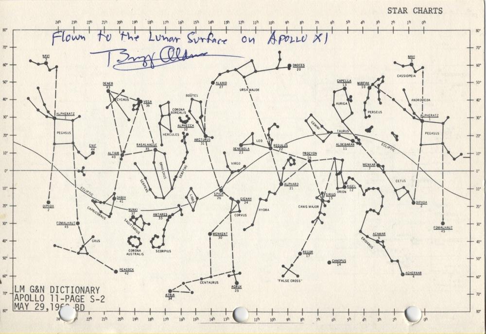 Actual star chart used to navigate to the Moon in 1969.