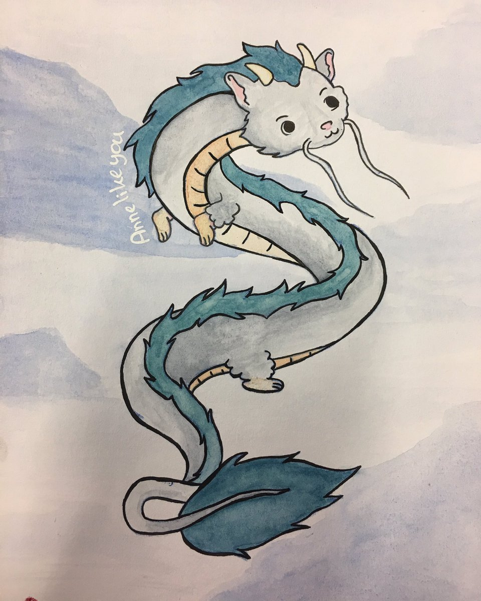 Annelikeyou Official On Twitter Haku Dragon Form Spirited Away Art Drawing Aquarelle Spiritedaway Annelikeyou Annelikeyou Official Dragon