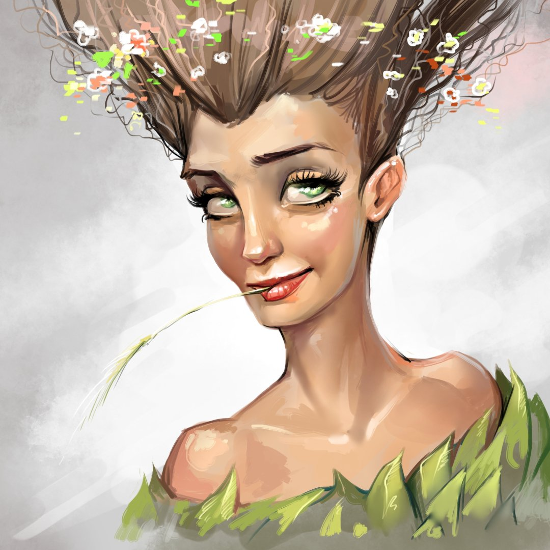 Stylized female portrait. Speed painting with @Krita_Painting  WIP https://youtu.be/sEWdcywTIV0  #krita #painting #speedpaint #drawing #portrait #portraitgirl #woman #smile #hair #style #beauty #beautiful #fantasy #leaves #art #artwork #digital #digitalartpic.twitter.com/T89XRbmxIY