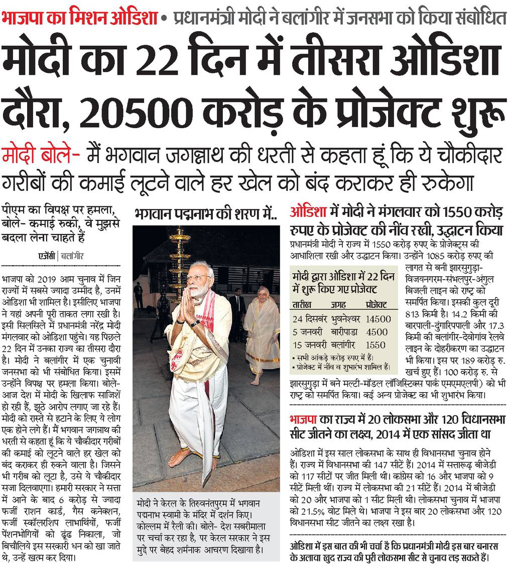 Topmost importance to Odisha's growth.