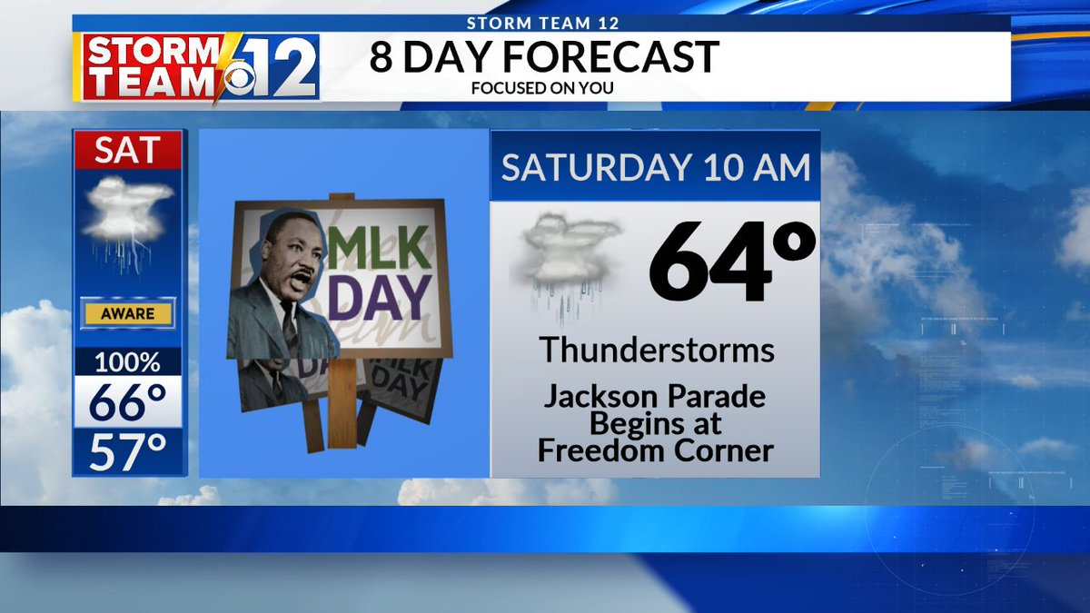 RAINY HOLIDAY PARADE...MLK Day will be sunny & cold next Monday. Jackson's MLK Day parade starts at 10am Saturday, though. You can expect thunderstorms with temps in the 60s that day...so wear your rain gear to the parade this year!   #mswx#WJTVweather