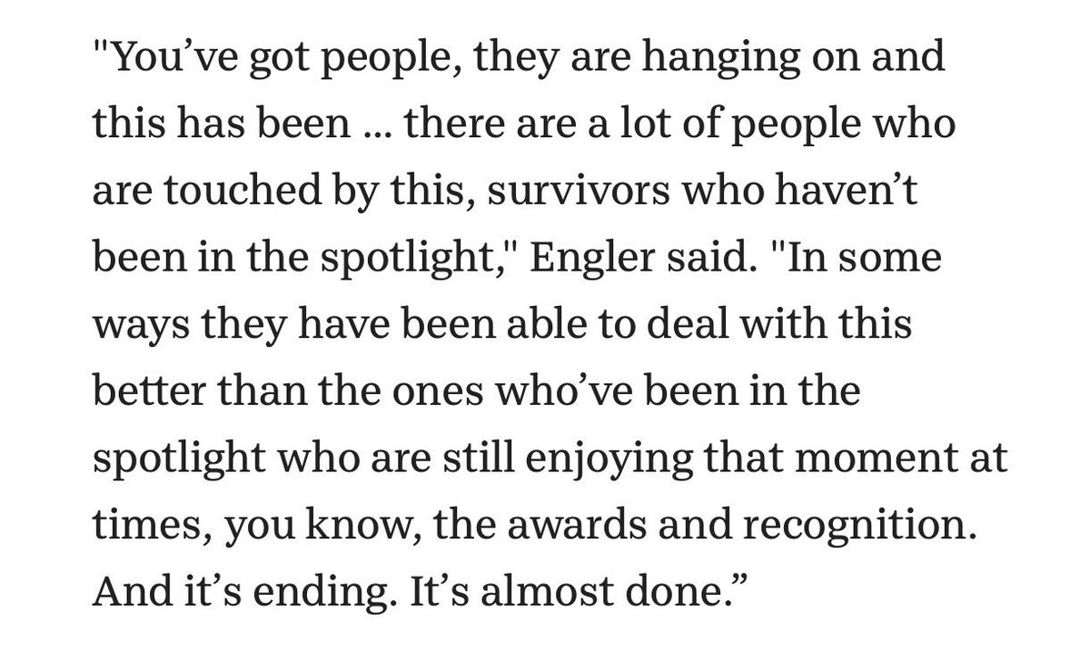 """This is, somehow, the last paragraph in a Detroit News story about the victims of Larry Nassar. It should be the only paragraph. It's Michigan State interim President John Engler saying that some Nassar victims are enjoying the spotlight with """"awards and recognition."""" WUT."""