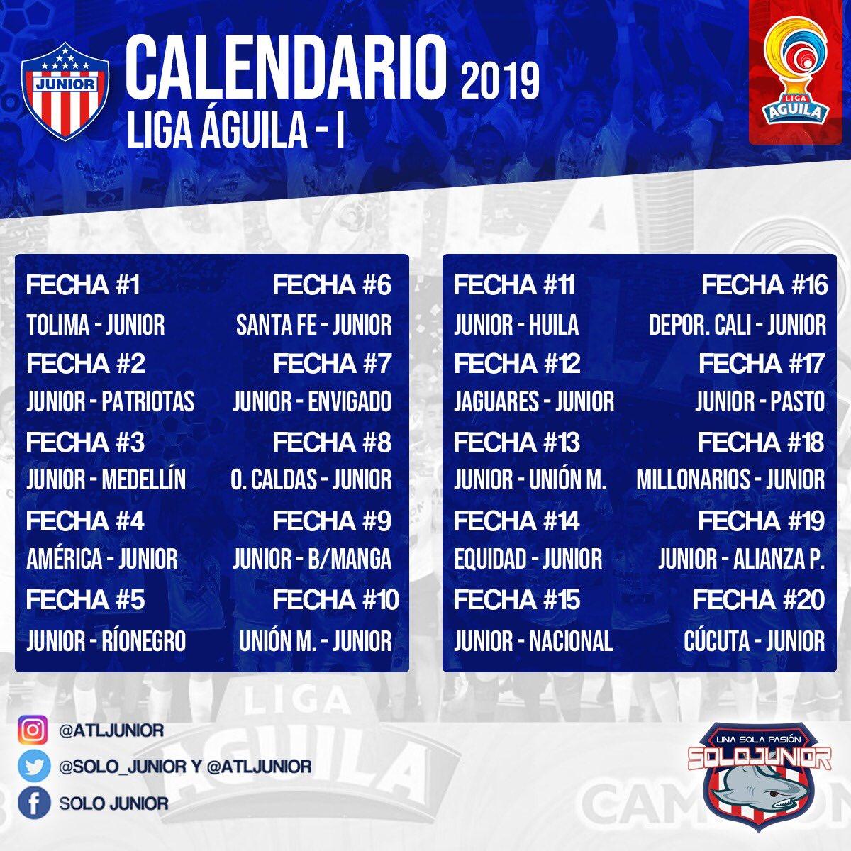 Calendario M.Calendario Junior Liga 2019 I Tweet Added By