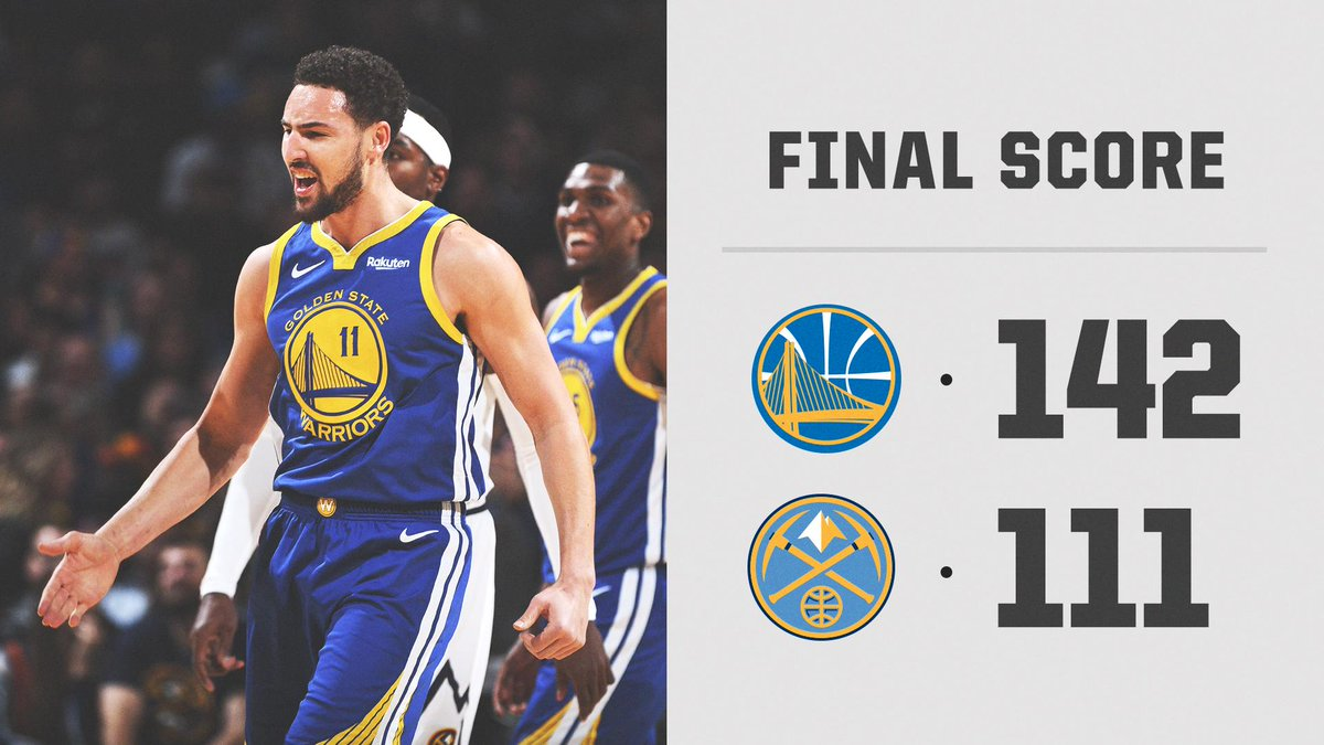 The Warriors take 1st place in the West from the Nuggets.