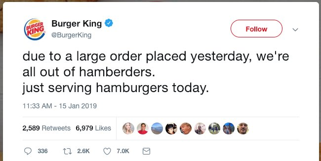 "Burger King mocks Trump over misspelled tweet: ""We're all out of hamberders"" http://hill.cm/oqaTmKI"