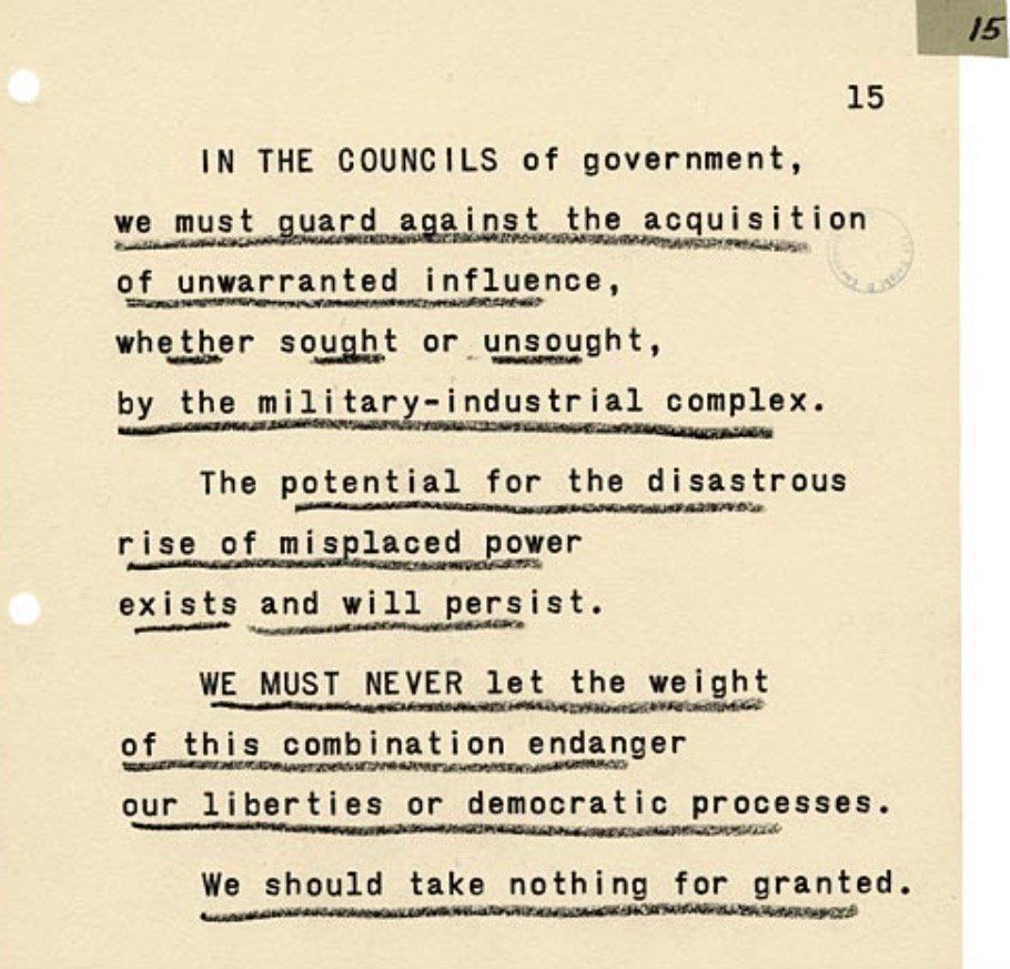 """Eisenhower's reading copy for his farewell address from Oval Office—asks to guard against the """"military-industrial complex,"""" this week 1961:"""