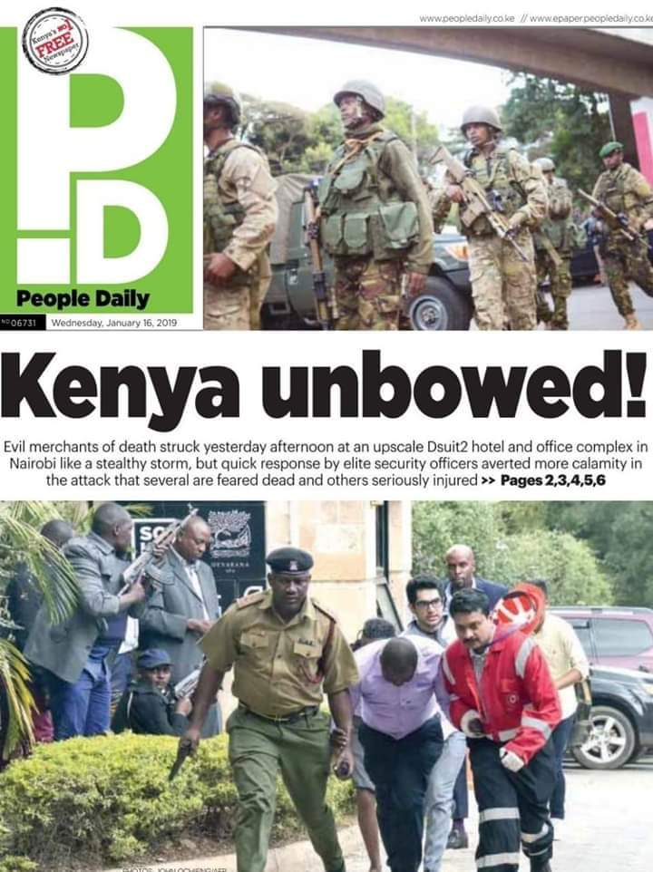 The @PeopleDailyKe got it's headline right, kudos for resisting the urge to go for 'shock value' like the rest of our major dailies. Rather, they chose to reassure and embolden the national psyche.  #WeShallOvercome #RiversideAttack #SomeoneTellNyTimes #Nairobi