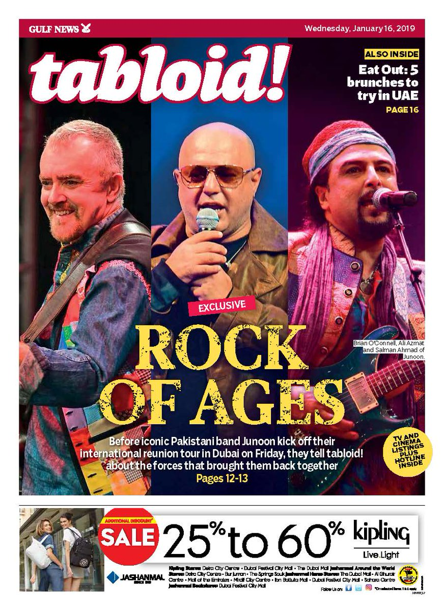 Iconic #Pakistani band #Junoon, who are set to kick off their international reunion tour in Dubai on Friday, talk to us about the forces that brought them back together after 13 years. Don't miss our interview in today's issue and here https://t.co/d7IYjTA8Zx  #TabloidCover
